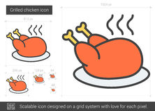 Grilled chicken line icon. Grilled chicken vector line icon isolated on white background. Grilled chicken line icon for infographic, website or app. Scalable Royalty Free Stock Images