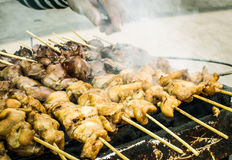 Grilled chicken and liver sold at street market Royalty Free Stock Image
