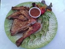 Grilled Chicken. Chicken meal on plate Royalty Free Stock Images