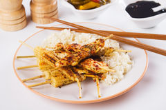 Grilled chicken meat and baby corn on skewer Stock Image