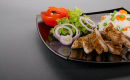 Grilled chicken meat with fresh vegetable Royalty Free Stock Photo