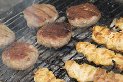 Grilled chicken meat. And meetballs Royalty Free Stock Photos