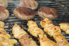 Grilled chicken meat. And meetballs Stock Photos