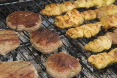 Grilled chicken meat. And meetballs Stock Photo