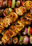 Grilled chicken meat on skewer Royalty Free Stock Image