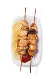 Grilled chicken meat on skewer Royalty Free Stock Photography