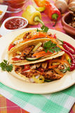 Grilled chicken meat in taco shells Royalty Free Stock Images