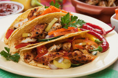 Grilled chicken meat in taco shells Royalty Free Stock Photos