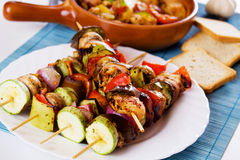 Grilled chicken meat and vegetable skewer Stock Image