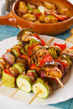 Grilled chicken meat and vegetables Royalty Free Stock Images