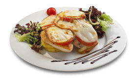 Grilled chicken with melted cheese and vegetables_1 Royalty Free Stock Photo