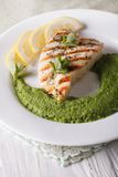 Grilled chicken and mint pea puree close-up on a plate. vertical Stock Photography