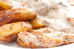 Grilled chicken with mushroom sauce and fingerling potatoes Stock Photos