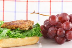 Grilled chicken and organic grapes. Perfect and delicious healthy meal Royalty Free Stock Photography
