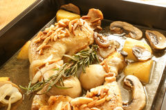 Grilled chicken with organic potato and mushroom Stock Image