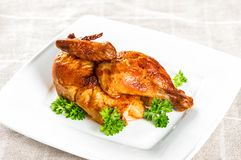 Grilled chicken parsley herb decoration. Grilled chicken with parsley herb decoration on a white plate Stock Photography