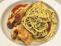 Grilled chicken pasta Royalty Free Stock Photography