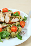 Grilled chicken and pasta salad vertical Royalty Free Stock Photo