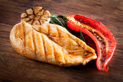 Grilled chicken with pepper and garlic Royalty Free Stock Photo