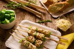 Grilled chicken and peppers on a skewer in picnic setting. Concept of barbecue picnic food. Barbecue grilled chicken and pepper kebab or souvlaki on skewer Royalty Free Stock Images