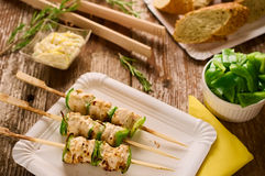 Grilled chicken and peppers on a skewer in picnic setting. Concept of barbecue picnic food. Barbecue grilled chicken and pepper kebab or souvlaki on skewer Stock Photo