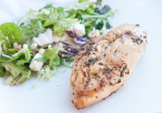 Grilled Chicken with salad in a plate Stock Photos