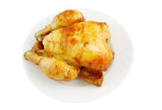 Grilled chicken on plate isolated Royalty Free Stock Images