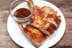 Grilled chicken on plate. Royalty Free Stock Image