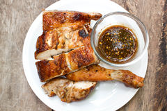 Grilled chicken on plate. Stock Photos