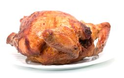 Grilled chicken on a plate on a white background Stock Photography