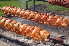 Grilled Chicken and Pork Loin on a Spit Stock Photo