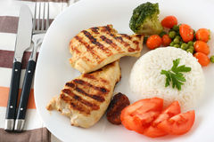 Grilled chicken with rice Royalty Free Stock Photography