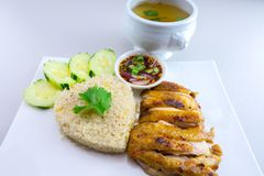 Grilled chicken with rice Thai style. Grilled chicken with rice is a dish adapted from early Chinese immigrants originally from Hainan province in southern China Royalty Free Stock Image