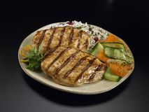 Grilled chicken with rice and vegetables Royalty Free Stock Photography