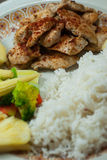 Grilled chicken with rice and vegetables Stock Photo