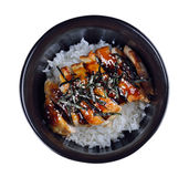 Grilled Chicken with Rice on white background Stock Image