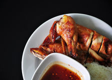 Grilled chicken with rice ,yummy. Delicious Grilled chicken with rice Stock Image