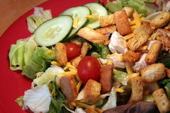 Grilled Chicken Salad. Red plate with grilled chicken salad Royalty Free Stock Photos