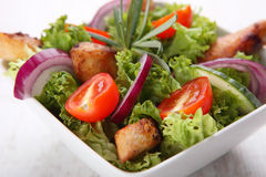 Grilled chicken salad. In white bow Royalty Free Stock Photos