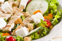 Grilled chicken salad. With feta cheese Royalty Free Stock Photos