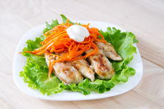 Grilled chicken on salad. Grilled chicken with carrots on salad Stock Image