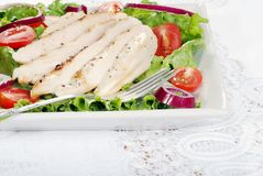 Grilled chicken salad with a fork. Closeup of a plate grilled chicken salad with a fork Royalty Free Stock Photos