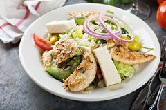 Grilled chicken salad. With fresh vegetables and feta cheese Stock Photo