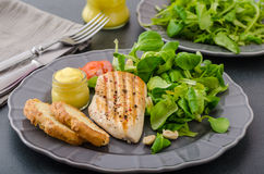 Grilled chicken with salad and nuts Royalty Free Stock Photo