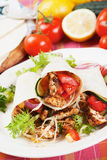 Grilled chicken and salad in tortilla wrap Royalty Free Stock Photos