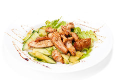 Grilled chicken salad on white Stock Photo