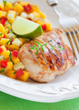 Grilled chicken and salsa. Grilled chicken fillet and mango, cucumber, pepper salsa. Selective focus Royalty Free Stock Photos