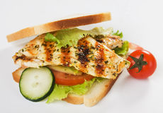Grilled chicken sandwich. With lettuce and tomato over white background, not isolated Royalty Free Stock Photos