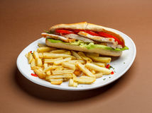 Grilled chicken sandwich Stock Images