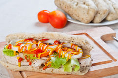 Grilled Chicken Sandwich with tomato lettuce and onion Royalty Free Stock Photo